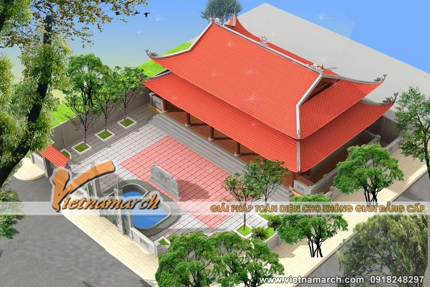 Mẫu nhà thờ họ mặt bằng 8 mái cong thiết kế cho nhà bác Vĩnh tại Hà Nam