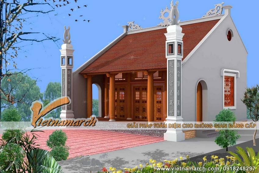Mẫu nhà thờ họ mặt bằng chữ Nhất