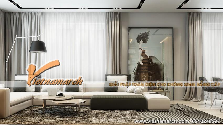 Nội thất phòng khách hiện đại trong căn hộ chung cư cao cấp