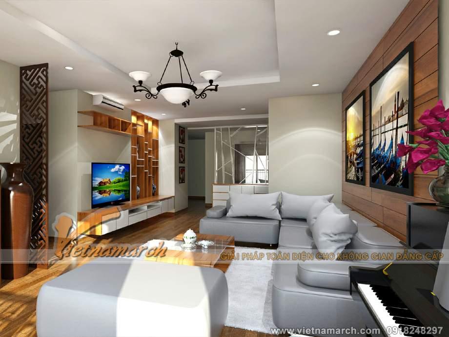 Hoàn thiện nội thất phòng khách cho căn hộ T08-09-21 chung cư Times City.