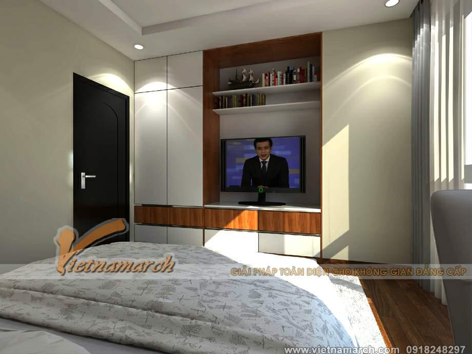 Tủ quần áo và kệ cuối giường có màu trắng sáng hiện đại