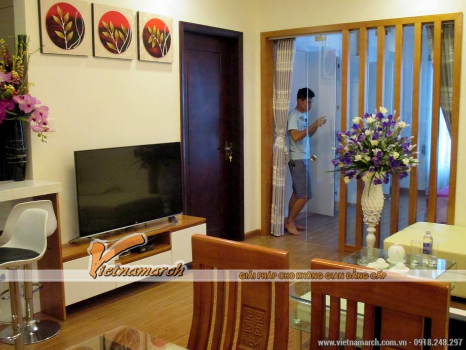 Hoàn thiện thi công nội thất chung cư Times City trong căn hộ T11-17-16 phòng khách 07