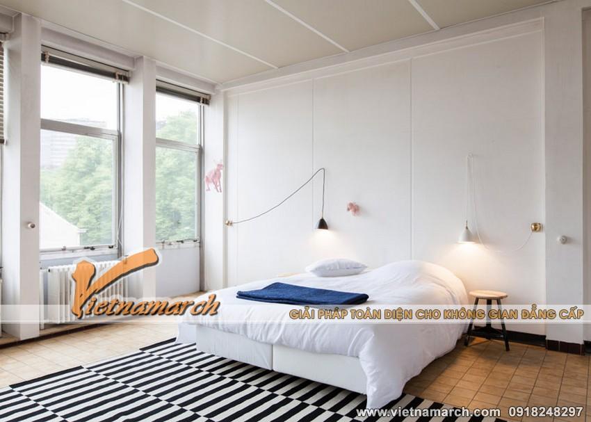 Một phòng ngủ khác với tông màu trắng sáng