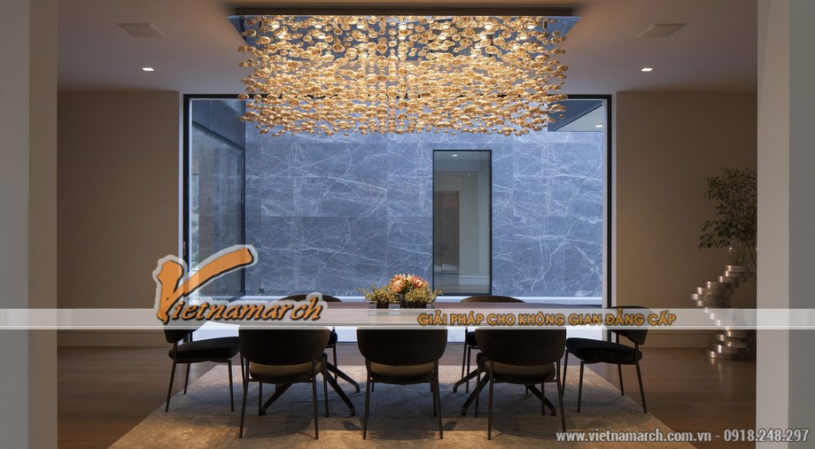 Phòng ăn ở lầu 1 với thiết kế tuyệt vời