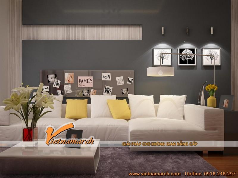 Bộ sofa góc màu trắng là điểm nhấn trong không gian có màu trung tính