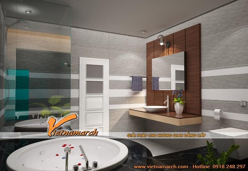 Nội thất sang trọng trong phòng tắm thể hiện đẳng cấp của ngôi biệt thự