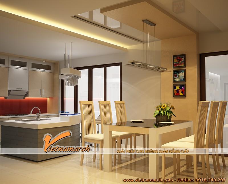 Thiết kế nội thất phòng bếp đẹp và hiện đại cho ngôi biệt thự nhà anh Phú tại Hải Phòng