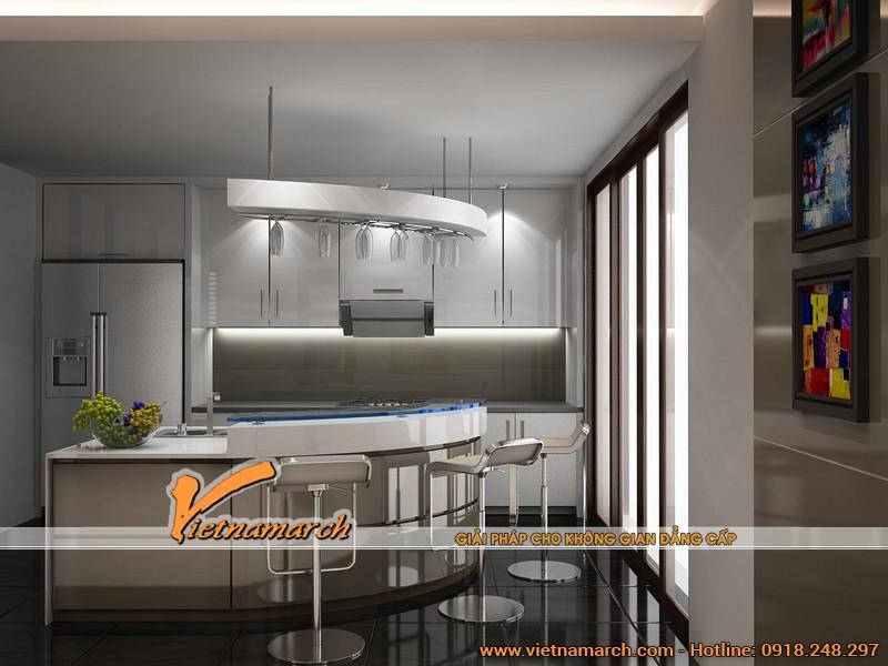 Phòng bếp được thiết kế tiện nghi, đầy đủ có khu quầy bar hiện đại bên trong.