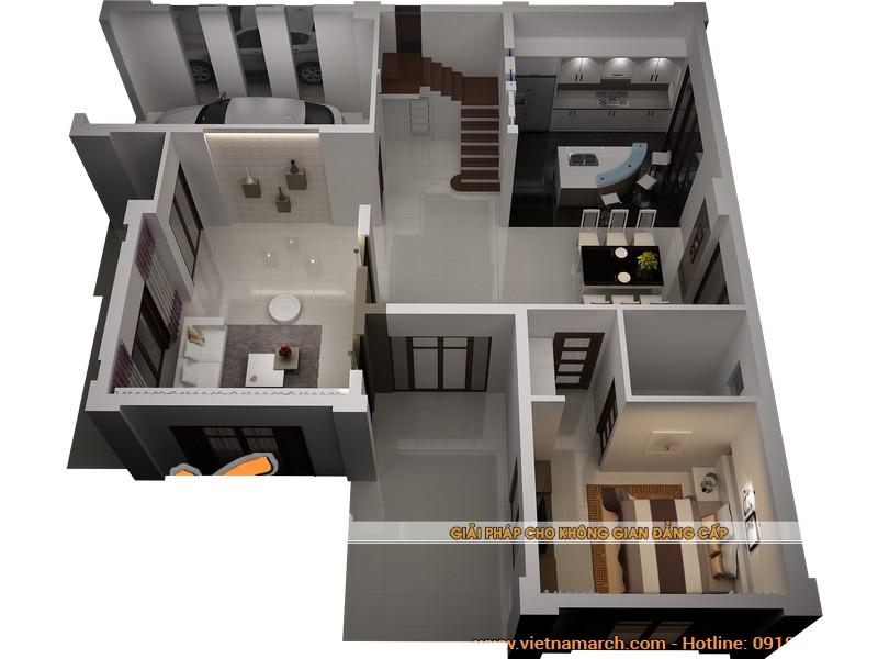 Bản vẽ tổng thể các phòng trong tầng 1 của ngôi biệt thự gồm có 1 phòng khách, 1 phòng bếp, 1 phòng ngủ, gara để oto