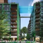 Thiết kế bể bơi trên không trong suốt nối giữa 2 toàn nhà