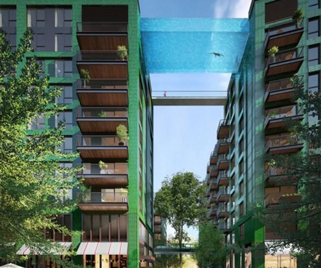 thiết kế kiến trúc độc đáo bể bơi treo lơ lửng trên không