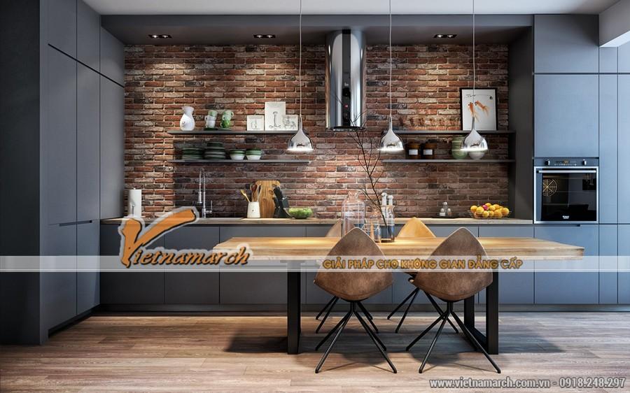 Bàn ăn được đặt giữa phòng khách và phòng bếp nấu là sự phân chia khéo léo cho 2 không gian.