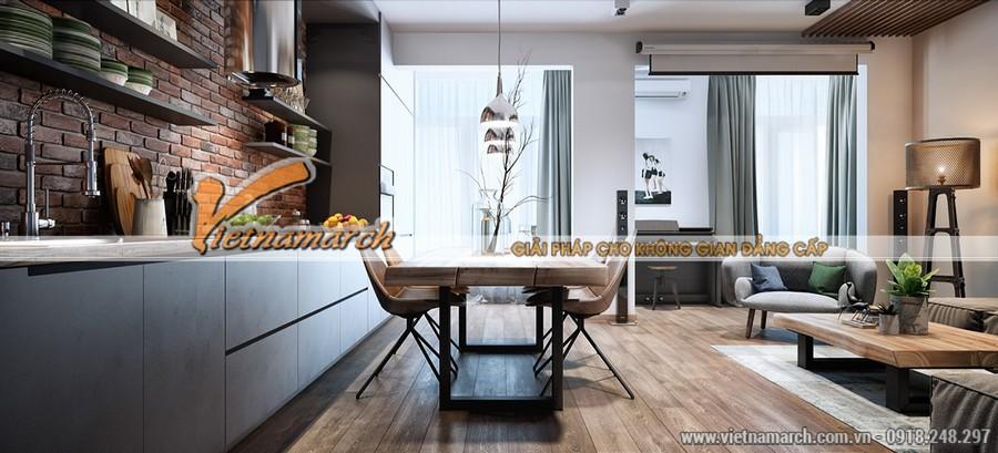 Không gian bếp nấu và phòng khách được phân cách nhau bởi bộ bàn ghế ăn