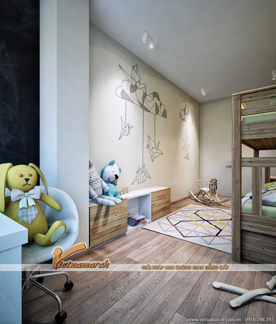 Phòng ngủ của trẻ trang trí và thiết kế không nhiều màu mè như ở căn hộ trước