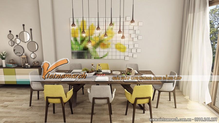 Phòng ăn rộng rãi với chiếc bàn 8 người