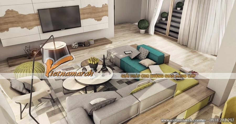 Phòng khách được thiết kế ấn tượng với nội thất độc đáo