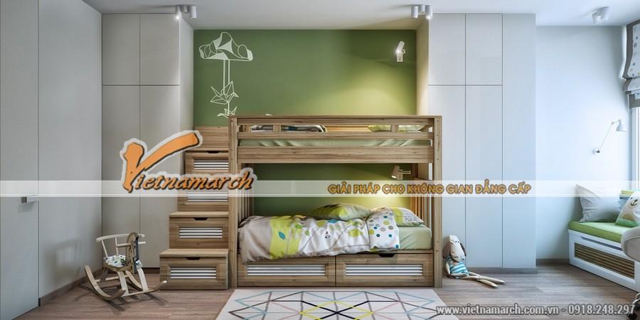 Phòng ngủ ở đây được thiết kế nhẹ nhàng hơn với màu xanh sâu, gỗ tự nhiên và màu xám chiếm đa số không gian