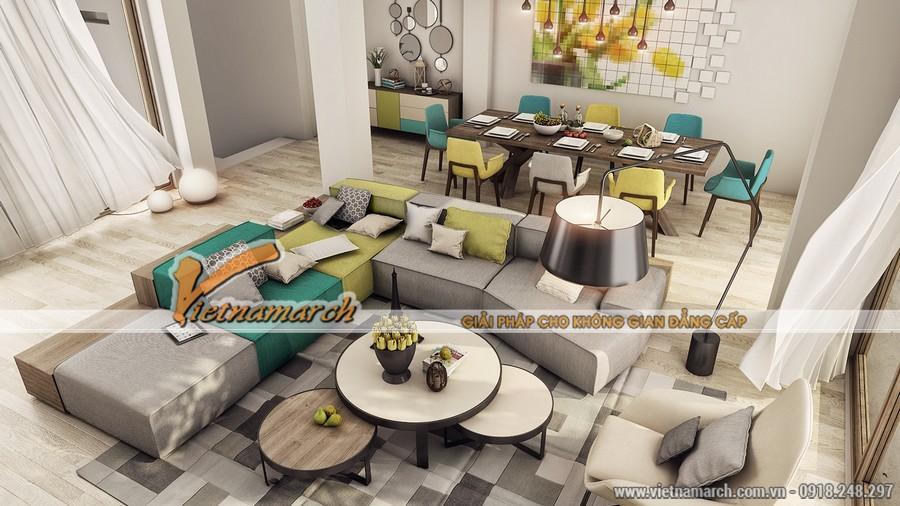 Nội thất phòng khách ấn tượng cho căn hộ nhỏ