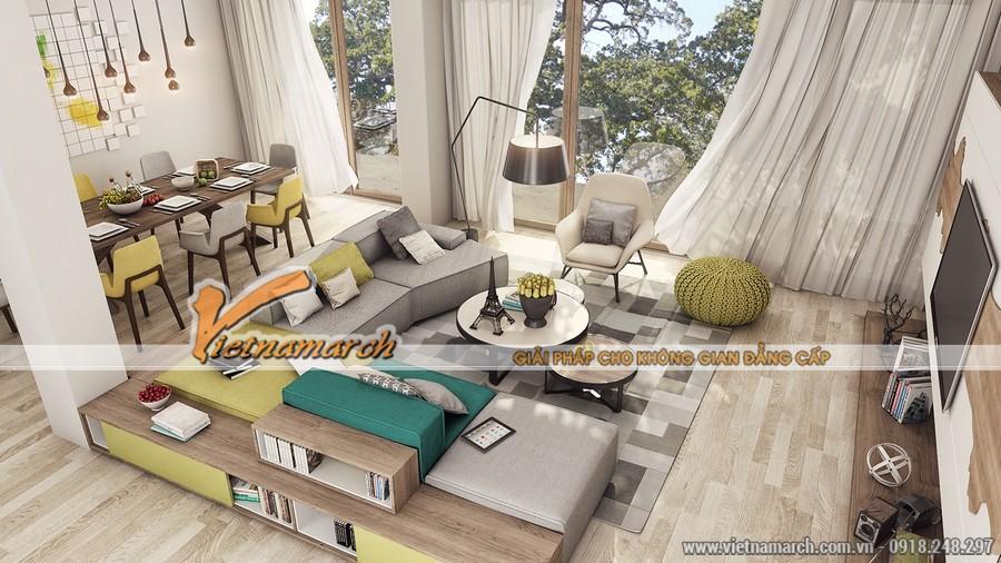Căn phòng sắc màu với những nội thất hiện đại và tiện nghi