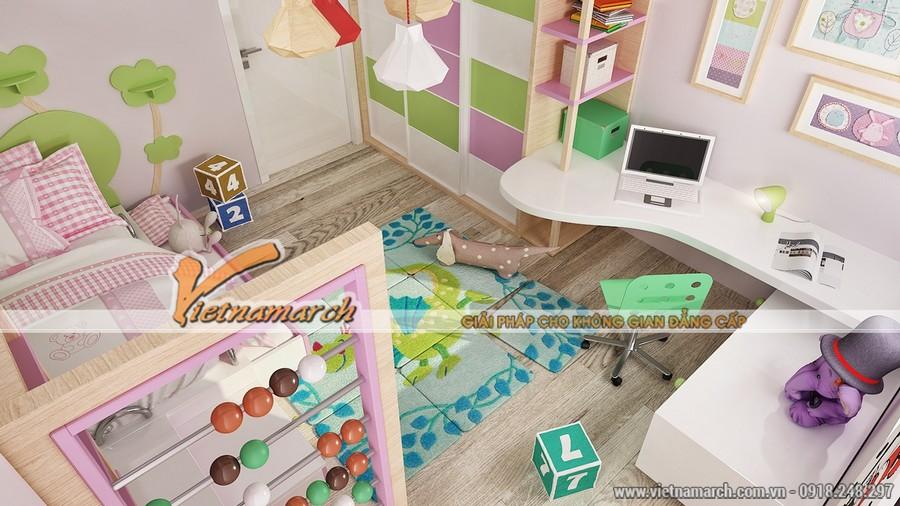 Phòng ngủ trẻ em được thiết kế sinh động với nhiều màu sắc sặc sỡ, trang trí hoa văn họa tiết đẹp.
