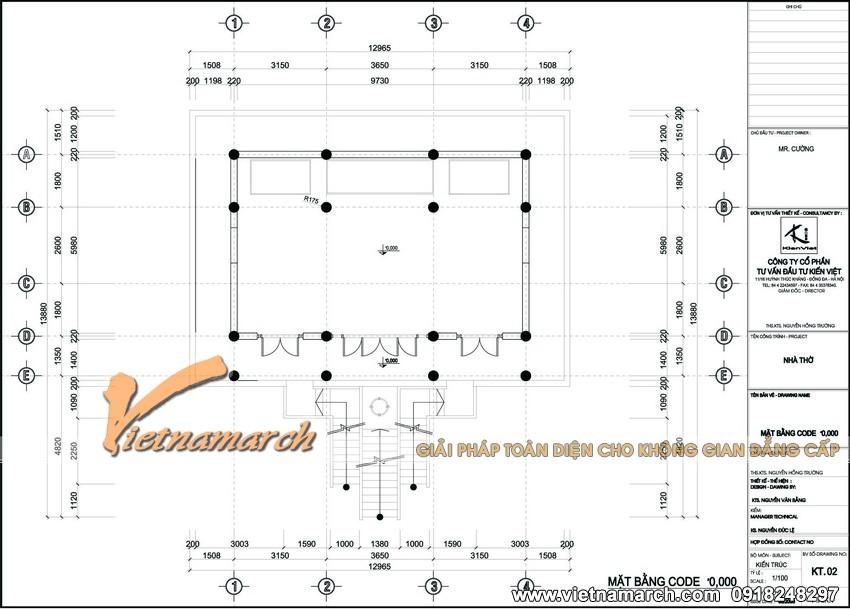 Mặt bằng code 0.000 - Thiết kế nhà thờ họ tại Hưng Yên