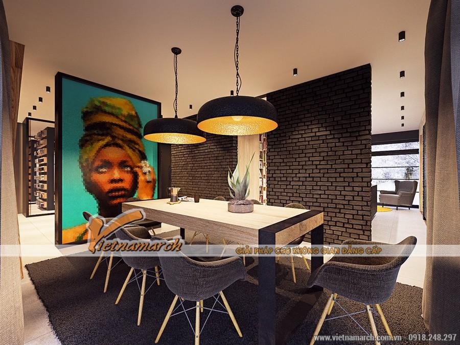 Phòng ăn và bếp được biệt lập ra một không gian riêng