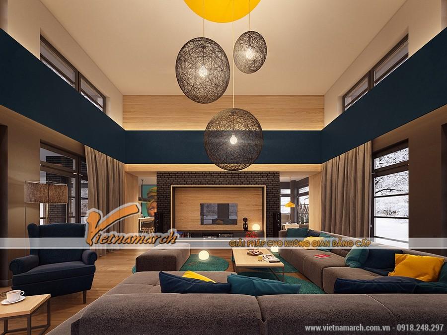 Phòng khách rộng rãi với những tông màu hài hòa, 3 màu là đủ cho một căn phòng không bị rối mắt