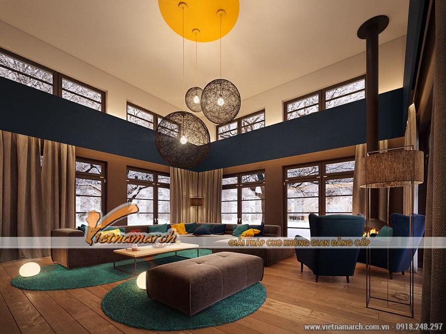 Thiết kế nội thất hiện đại và rộng rãi cho phòng khách