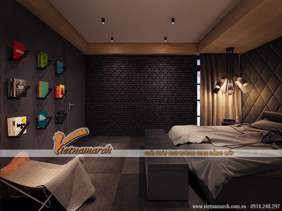 Phòng ngủ có thiết kế tận dụng tối đa công năng của những bức tường nhưng có sự sắp xếp hợp lý nên không gian rất thoáng