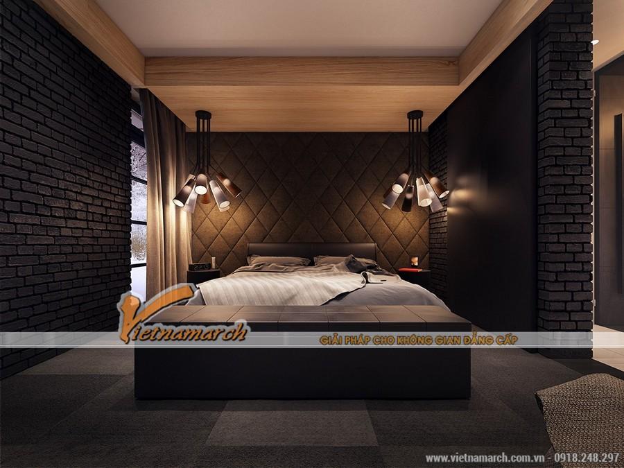 Phòng ngủ ấm cúng với tông màu tối