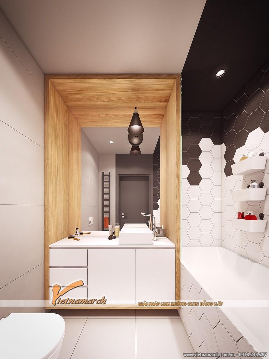 Phòng tắm này thực sư hiện đại và sang trọng từ gạch lát nền cho đến những đồ nội thất như vòi rửa, chậu rửa, bồn tắm..