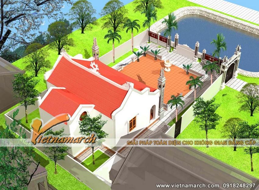 Vietnamarch Thiết kế nhà thờ họ mặt bằng chữ Nhị tại Ứng Hòa - Hà Nội cho nhà ông Nguyễn Bá Huy 03