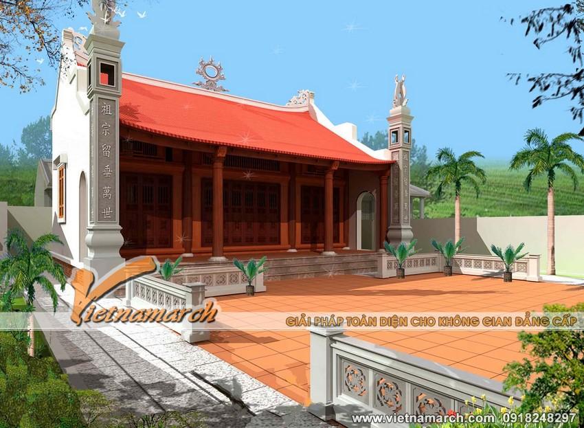 Vietnamarch Thiết kế nhà thờ họ mặt bằng chữ Nhị tại Ứng Hòa - Hà Nội cho nhà ông Nguyễn Bá Huy.