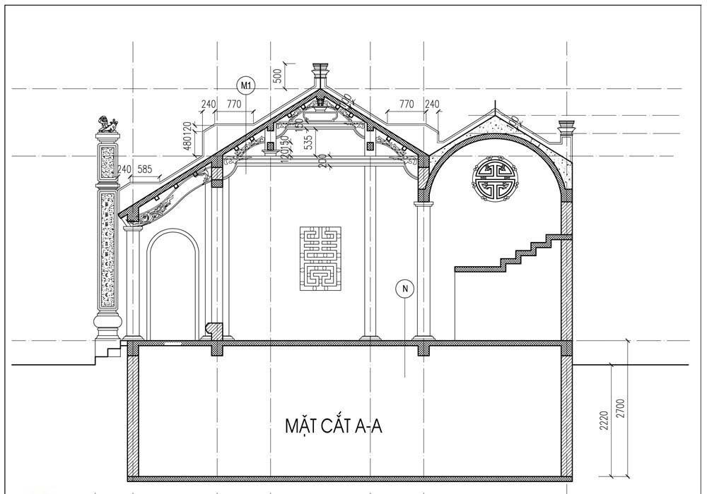 Bản thiết kế nhà thờ tổ dòng họ Hoàng tại Xuân Phương - Nam Từ Liêm - Hà Nội 03