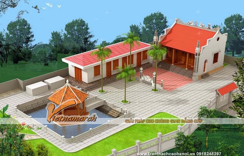 Công trình nhà thờ họ 3 gian 2 mái kết hợp nhà ngang, phía trước là sân vườn rộng rãi có thiết kế tuyệt đẹp với bãi cỏ, hồ nước và chòi lục giác