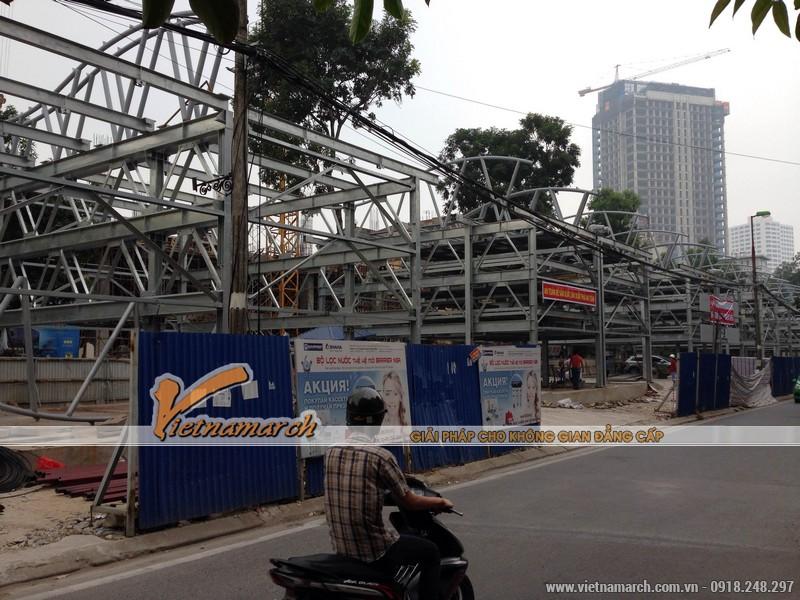 Tiến độ công trình thí điểm lắp dựng giàn thép đỗ xe cao tầng Nguyễn Công Hoan.