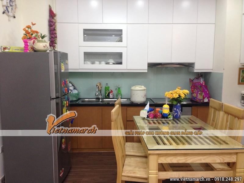 Bộ bàn ghế ăn được làm từ gỗ sồi Nga - Thiết kế nội thất chung cư Đông Đô