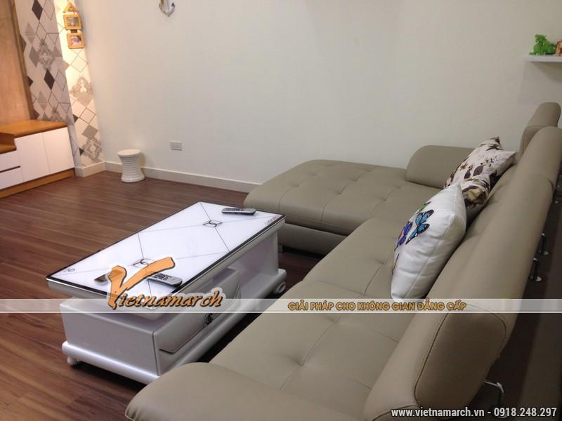 Bộ sofa góc bằng da mang đến sự hiện đại cho phòng khách