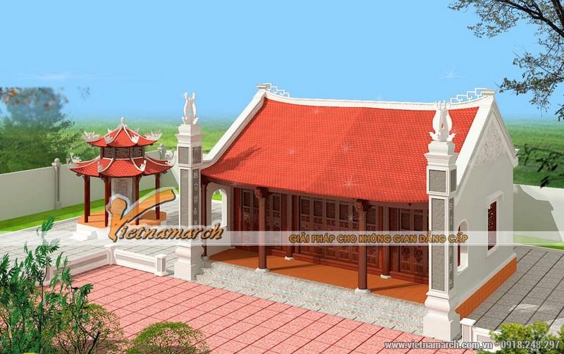 Mẫu nhà thờ diện tích nhỏ được thiết kế với 3 gian chính, 2 mái là mẫu nhà thờ đơn giản