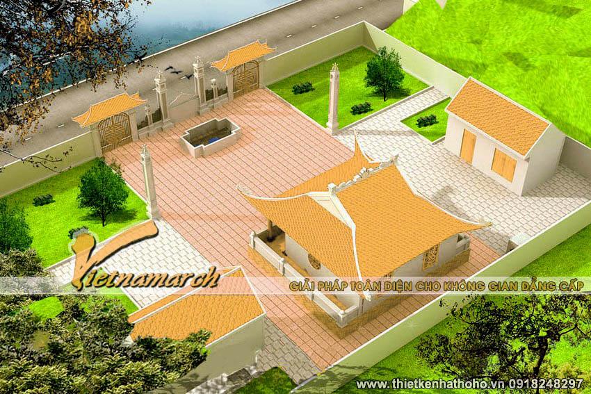 Toàn cảnh mặt bằng của thiết kế nhà thờ họ Nguyễn tại Phú Thọ