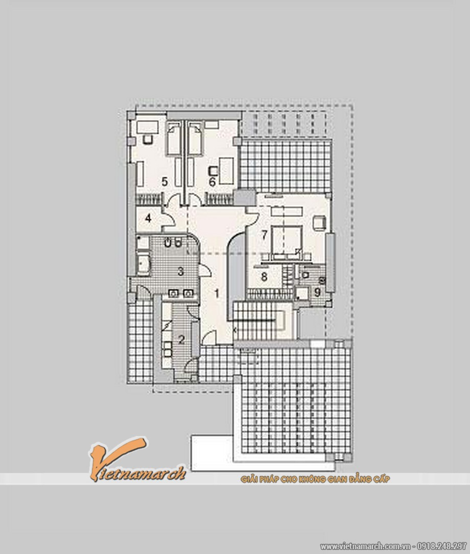 Thiết kế biệt thự đẹp 2 tầng nhà anh Hải - TP. Hạ Long 08