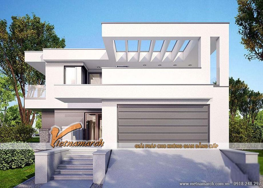 Ngôi biệt thự được thiết kế với 2 tầng, màu sắc đơn giản nhưng rất hiện đại