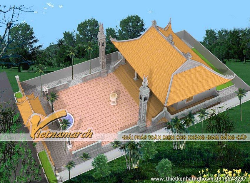 4 mái cong đắp đầu rồng, trên đỉnh mái được thiết kế 2 con kìm nóc và ở giữa là mặt trời.