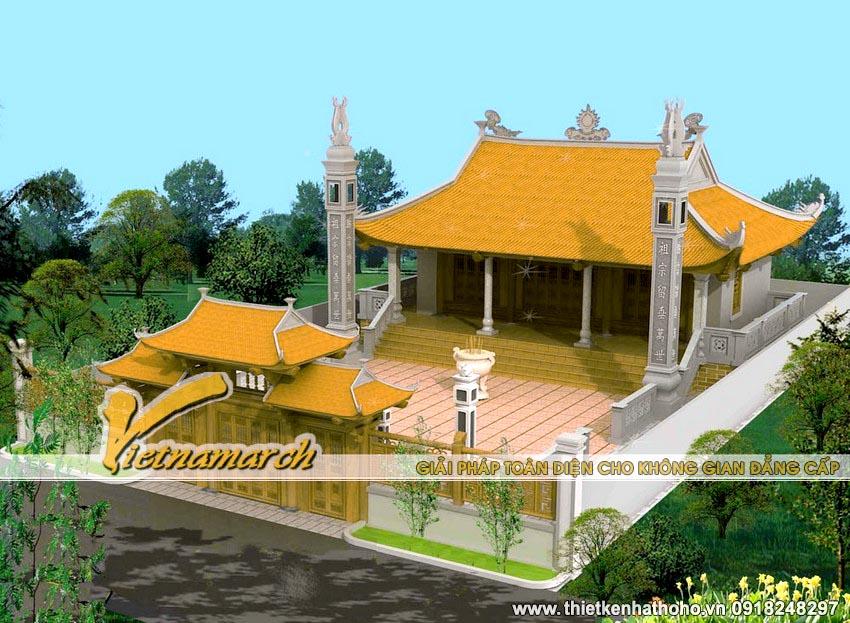 Mẫu nhà thờ họ 4 mái cong tại Bắc Ninh