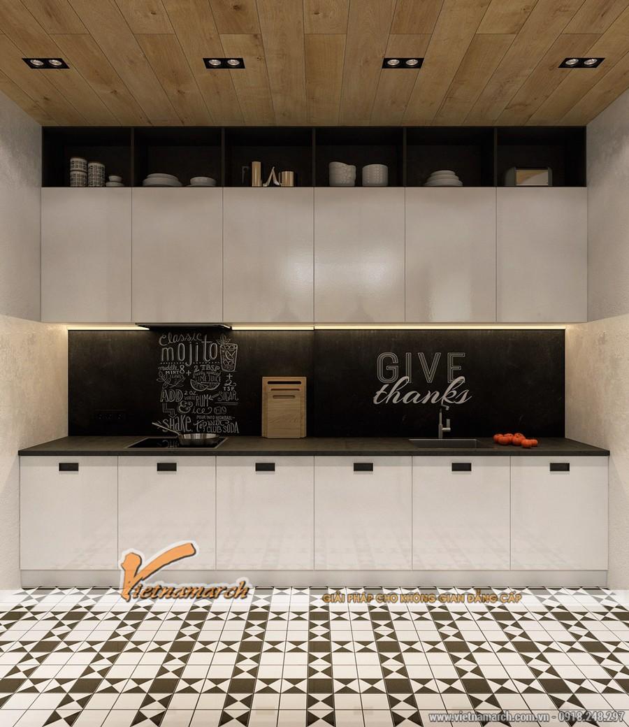Phòng bếp gọn gàng và ngăn lắp với hệ tủ bếp được thiết kế đơn giản