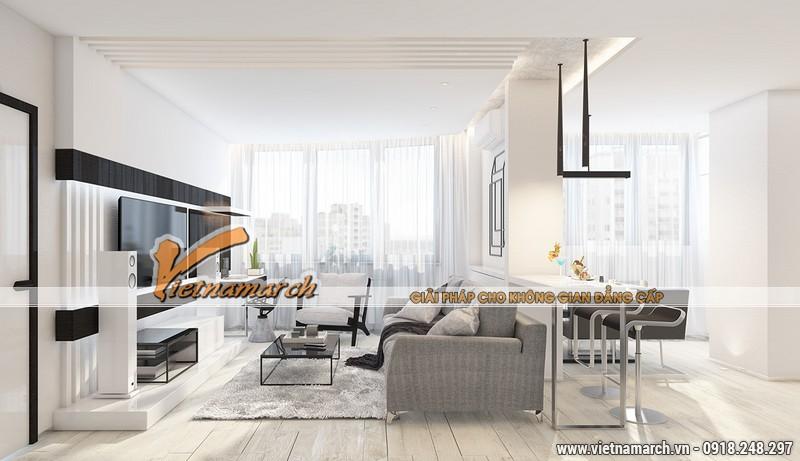 THiết kế nội thất chung cư New SkyLine - Văn Quán căn hộ nhà anh 10.32B3 - Nội thất phòng khách