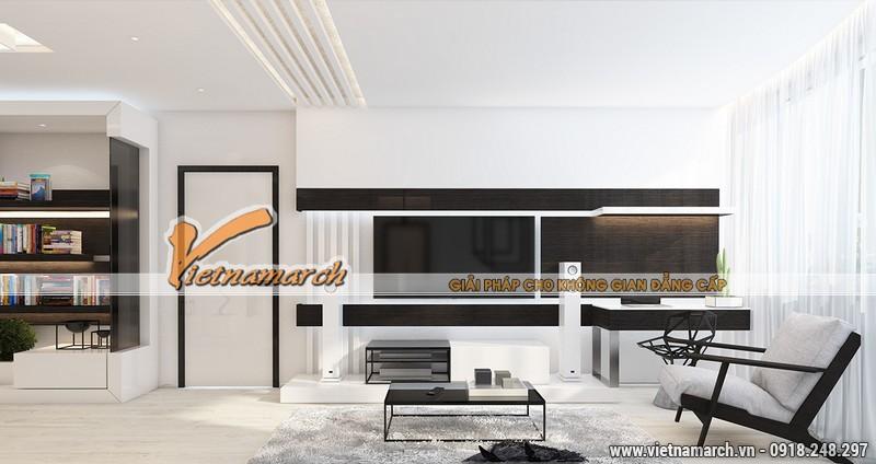 Nội thất phòng khách căn hộ 10.32B3căn hộThiết kế nội thất chung cư New SkyLine 01