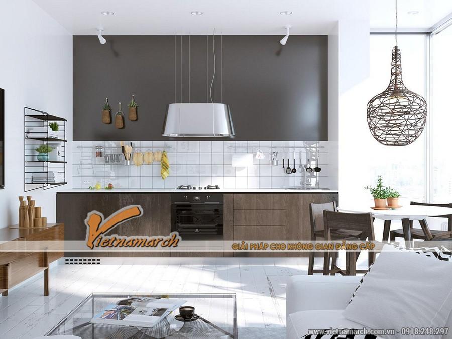 Không gian bếp nấu, bàn ăn được thiết kế chung với phòng khách ....