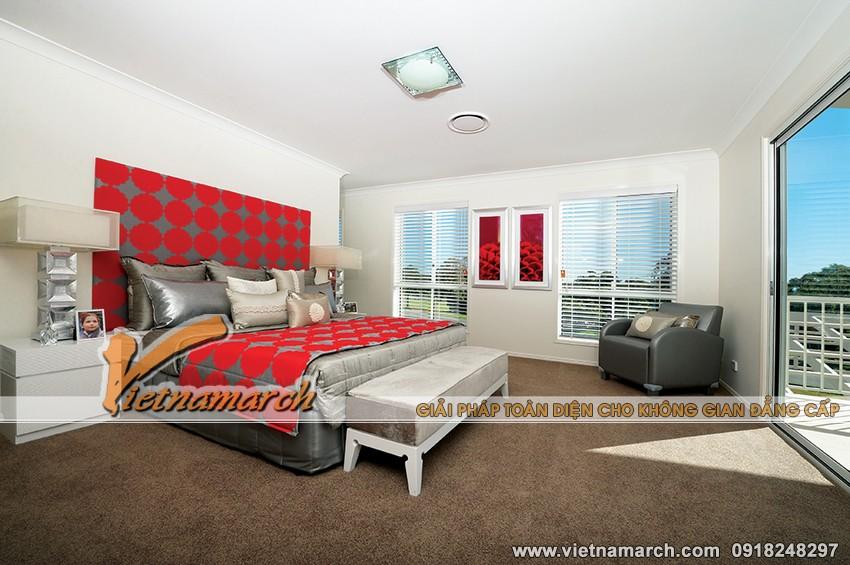 Nội thất của phòng ngủ này có vẻ giống với phong cách của phòng khách, những tông màu được phối hợp với nhau một cách ăn ý