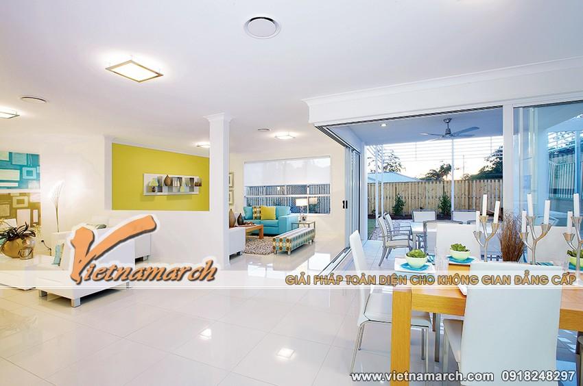 Phòng bếp được thiết kế hiện đại rộng rãi với hai màu sắc vàng, xanh và trắng đây là những màu sắc của sự trẻ trung, hiện đại.